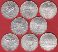 USA 8 x 1 Dollar 1995 - 1996 Stempelglanz,...