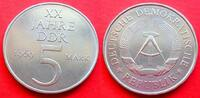 5 Mark 1969 DDR XX Jahre DDR, Bronze bankfrisch  3,00 EUR  +  5,00 EUR shipping