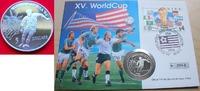 5 Dollar 1991 Niue Fußball WM USA 1994, Spieler und Liberty, Numisbrief... 7,00 EUR  zzgl. 5,00 EUR Versand