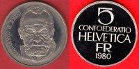5 Franken 1980 Schweiz Ferdinand Hodler Polierte Platte Proof, PP  11,00 EUR  +  5,00 EUR shipping