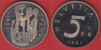 5 Franken 1981 Schweiz Stanser Verkommnis Polierte Platte Proof, PP  10,00 EUR  +  5,00 EUR shipping