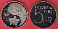 5 Franken 1984 Schweiz Auguste Piccard Polierte Platte Proof, PP  10,00 EUR  +  5,00 EUR shipping