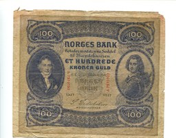 100 Kroner/Kronen, 1927, Norwegen,  IV,