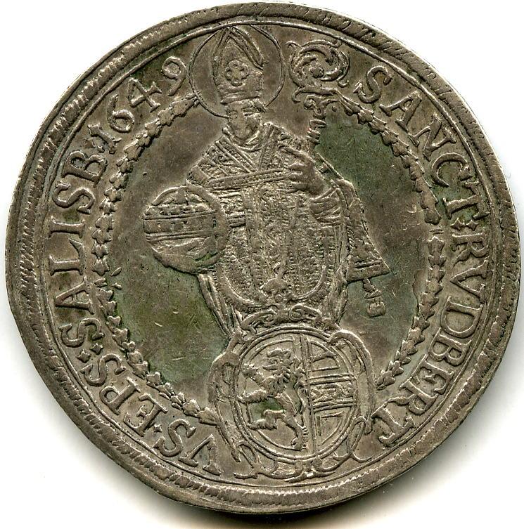 1 Taler 1649 RDR ~ Römisch Deutsches Reich / Salzburg ~ VF- / EF