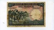 10 Francs, 1944, Belgisch Kongo,  III-IV,  60,00 EUR  +  7,00 EUR shipping