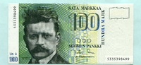 100 Markkaa 1986(1991) Finnland,  I  79,00 EUR  +  7,00 EUR shipping