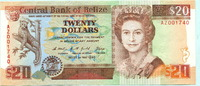 20 Dollars 1990 Belize,  II  69,50 EUR  +  7,00 EUR shipping