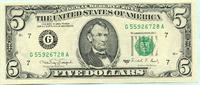 5 Dollars 1988A USA,  unc.  15,00 EUR  +  7,00 EUR shipping