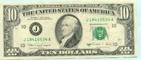 10 Dollars 1988 USA,  II  19,50 EUR  +  7,00 EUR shipping