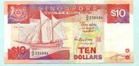 10 Dollars (1988) Singapur,  II  13,00 EUR  +  7,00 EUR shipping