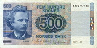 500 Kroner 1991 Norwegen,  III  75,00 EUR  +  7,00 EUR shipping