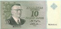 10 Markkaa 1963 Finnland,  Unc  25,00 EUR  +  7,00 EUR shipping
