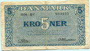5 Kroner 1950 Dänemark,  VI  19,50 EUR  +  7,00 EUR shipping