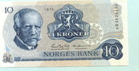 10 Kroner 1975 Norwegen,  Unc  12,00 EUR  +  7,00 EUR shipping