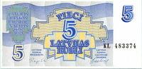 5 Rubli 1992 Lettland,  Unc  4,50 EUR  +  7,00 EUR shipping