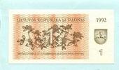 1 Talonas 1992 Litauen,  Unc  2,00 EUR  +  7,00 EUR shipping