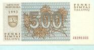 500 Talonas 1993 Litauen,  Unc  2,00 EUR  +  7,00 EUR shipping
