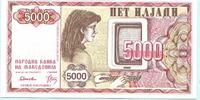5000 Denar 1992 Mazedonien,  Unc  8,00 EUR  +  7,00 EUR shipping