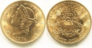 20 Dollars Gold Liberty Double Eagle 1904 USA,  vz+  1395,00 EUR  +  17,00 EUR shipping