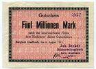 5 Millionen Mark, 1923, Deutschland, ~ Bergisch Gladbach / Joh. Becker ... 115,00 EUR103,50 EUR  +  7,00 EUR shipping