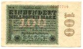 100 Millionen 1923 Deutsches Reich ~ Seltene Variante / Hakensterne, 8s... 150,00 EUR