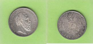 5 Mark 1876 Württemberg selten in dieser Q...