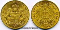 20 Mark 1913  Hamburg - 20 Mark - 1913 vz/Stg  359,00 EUR  plus 17,00 EUR verzending