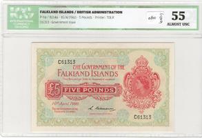£5 1960 Falklands Islands  ICG au.55