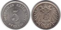 5 Pfennig 1897 Kaiserreich G Kleine Flecken, fast Stempelglanz  135,00 EUR  +  5,00 EUR shipping