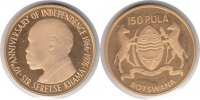 Botswana 150 Pula 1976 GOLD. Polierte Platte Botswana Gold 150 Pula 1976 875,00 EUR 