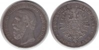 Kaiserreich 5 Mark 1888 Kl. Randfehler, sehr sch&ouml;n Baden Friedrich I. 5 ... 135,00 EUR 