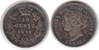 10 Cents 1871 Kanada Victoria 10 Cents 1871 H kl. Randfehler, sehr schön  95,00 EUR