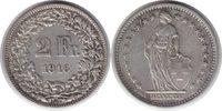 2 Franken 1916 Schweiz Eidgenossenschaft 2 Franken 1916 B vorzüglich +  150,00 EUR  +  5,00 EUR shipping