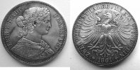 Frankfurt a. Main. Doppelt Vereins Thaler Some black Points(Silver oxid)in Ear and on the Field left.