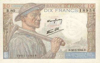 20.1.1944 NOTES OF THE BANQUE DE FRANCE Banque de France. Billet. 10 francs mineur, 20.1.1944 VF-EF