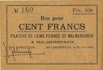 18.6.1940 FRENCH EMERGENCY NOTES Malmerspach (68). Filature de laine p... 60,00 EUR  +  7,00 EUR shipping