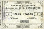 22.8.1915 FRENCH EMERGENCY NOTES Banteux (59). Commune. Billet. 2 fran... 12,00 EUR  +  7,00 EUR shipping