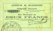 19.6.1915 FRENCH EMERGENCY NOTES Beaurevoir (02). Commune. Billet. 2 f... 8,00 EUR  +  7,00 EUR shipping