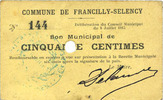 FRENCH EMERGENCY NOTES  Francilly-Selency (02), Commune, billet, 50 cmes 8.7.1915, annulation par perfor