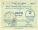 31.1.1915 FRENCH EMERGENCY NOTES Liévin (62). Ville. Billet. 2 francs ... 35,00 EUR  +  7,00 EUR shipping
