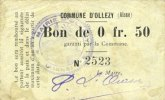 FRENCH EMERGENCY NOTES Ollezy (02). Commune. Billet. 50 centimes. N° ... 5,00 EUR  +  7,00 EUR shipping