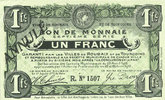 20.4.1916 FRENCH EMERGENCY NOTES Roubaix et Tourcoing (59). Billet. 1 ... 50,00 EUR  +  7,00 EUR shipping