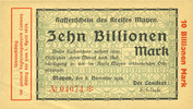 GERMANY - EMERGENCY NOTES (1914-1923) K - Z  Mayen, Kreis, Emission des séparatistes, billet, 10 billions mk