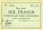 18.6.1940 FRENCH EMERGENCY NOTES Malmerspach (68). Filature de laine p... 45,00 EUR  +  7,00 EUR shipping