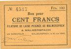 18.6.1940 FRENCH EMERGENCY NOTES Malmerspach (68). Filature de laine p... 32,00 EUR  +  7,00 EUR shipping