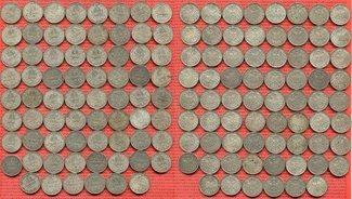 Lot 70 x 1 Mark Silbermünzen Div. Kaiserreich Umlaufmünzen Lot von 70 x 1 Mark Silbermünzen J. 17 Alle zirkuliert bessere Brhaltungen Bild