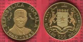 500 Shillings Goldmünze 1966 Somalia Somal...