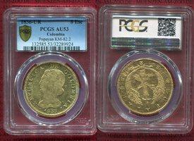 8 Escudos 1836 UR Colombia Kolumbien Popay...