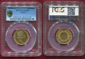 1 Krone 1858 A Österreich Kaiserreich Franz Josef I. vz-prfr. PCGS AU 58+