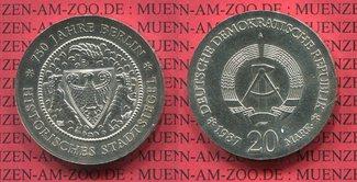 20 Mark Silbermünze DDR 1987 DDR 750 Jahre...